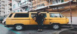 a yellow moving van