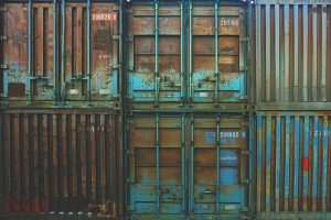 Blue storage containers stacked.