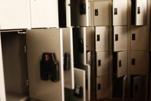 Gray metal lockers.