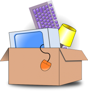 A box with office supplies.