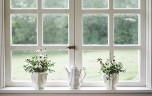 White windows and some flowers