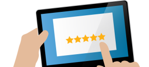 A feedback star rating on a tablet.