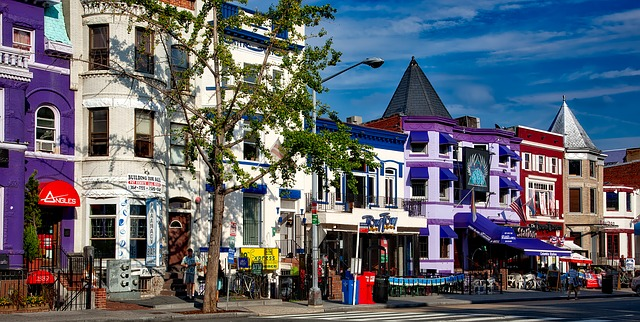 Colorful houses in Washigton DC.