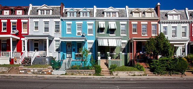 Colorful houses in one of the most desirable Washington DC neighborhoods.